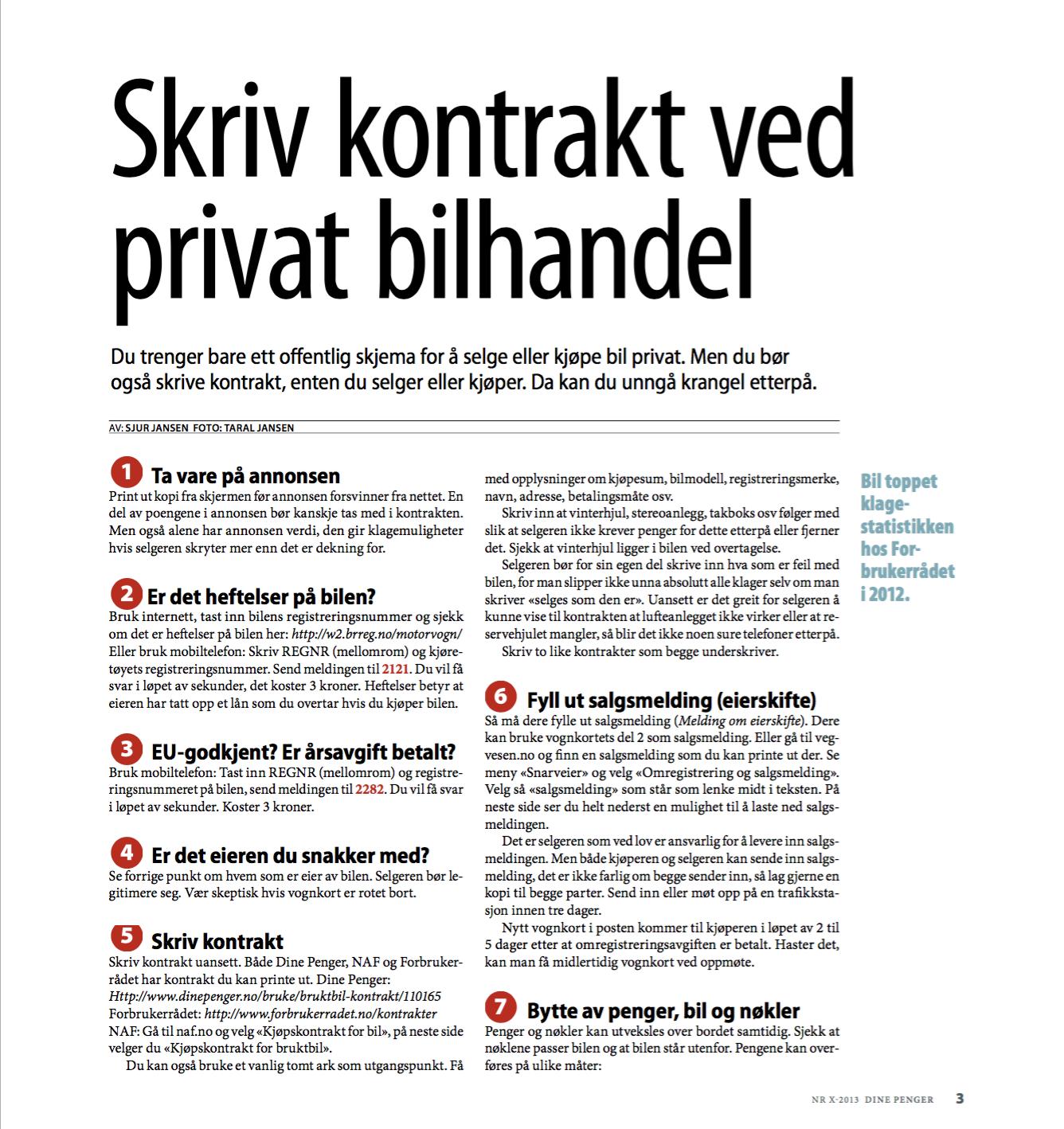 Skjermdump av artikkel skrevet av Sjur Jansen. Artikkelen handler om hvordan skrive kontrakt ved kjøp eller salg av bruktbil.