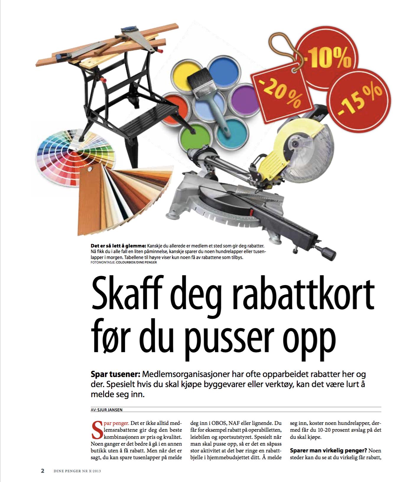 Skjermdump av artikkel skrevet av Sjur Jansen. Artikkelen handler om hvilke rabattkort man kan bruke ved oppussing.