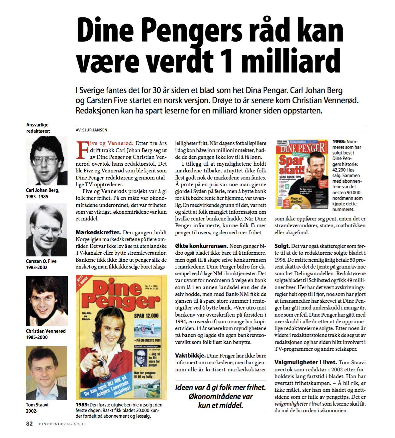 Skjermdump av artikkel skrevet av Sjur Jansen. Artikkelen handler om bedriften Dine Pengers historie.