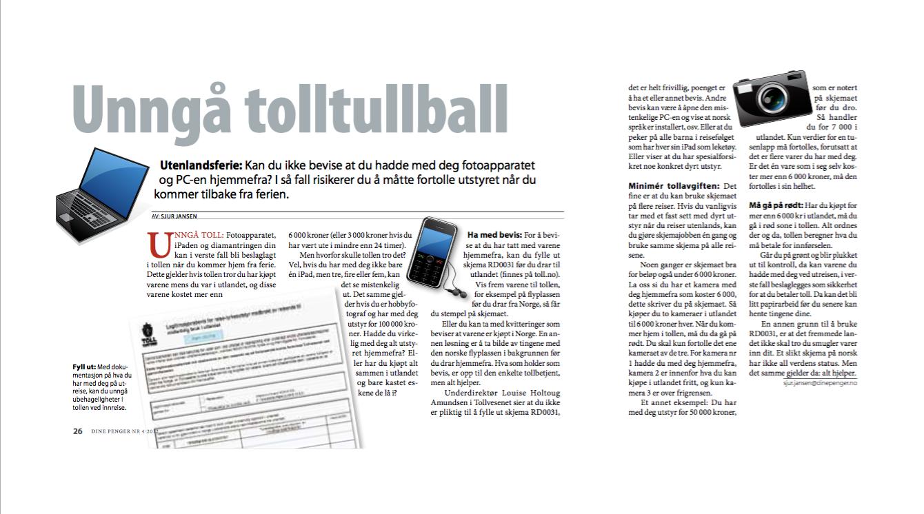 Skjermdump av artikkel skrevet av Sjur Jansen. Artikkelen handle rom hvordan unngå toll ved utenlandsreiser.