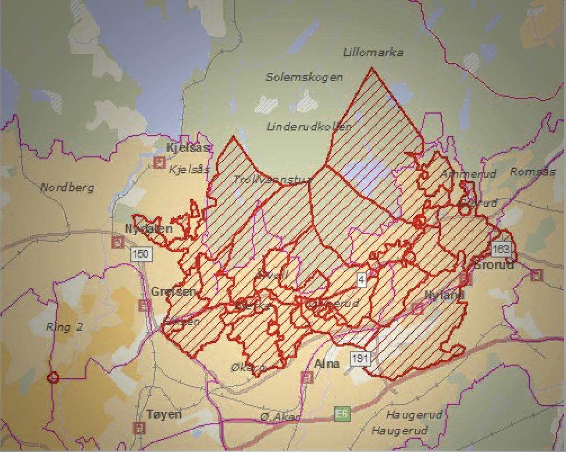 Kart over budruter i Groruddalen i Oslo. Laget av Bring.