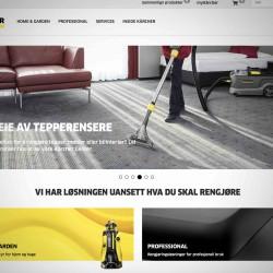 Skjermdump av forsiden til Kärchers nettsted. Bilde av dame med tepperenser.