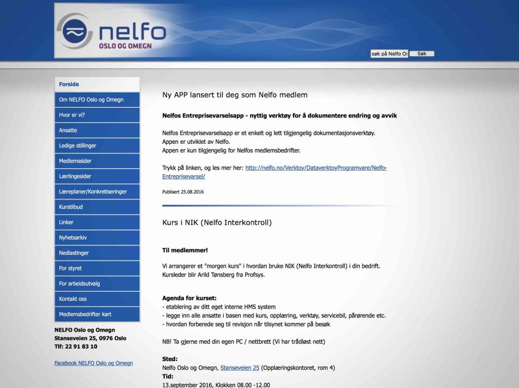 Skjermdump av nettsiden til Nelfo Oslo. Den har ingen bilder, er hvit med en blå bred bjelke øverst.