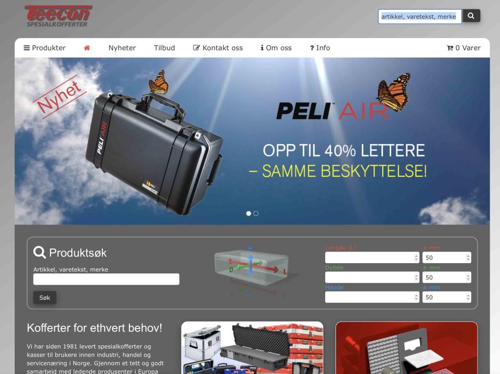 Skjermdump av nettsiden til Teecon. Bilde av en koffert oppe i skyene.