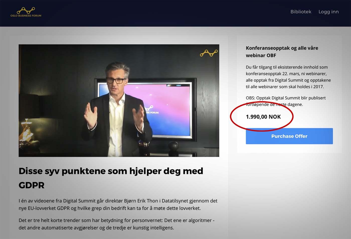 Skjermdump av nettsiden til Oslo Business Forum. Nettsiden viser et bilde av Bjørn Erik Thon og et tilbud om å kjøpe et videoopptak.