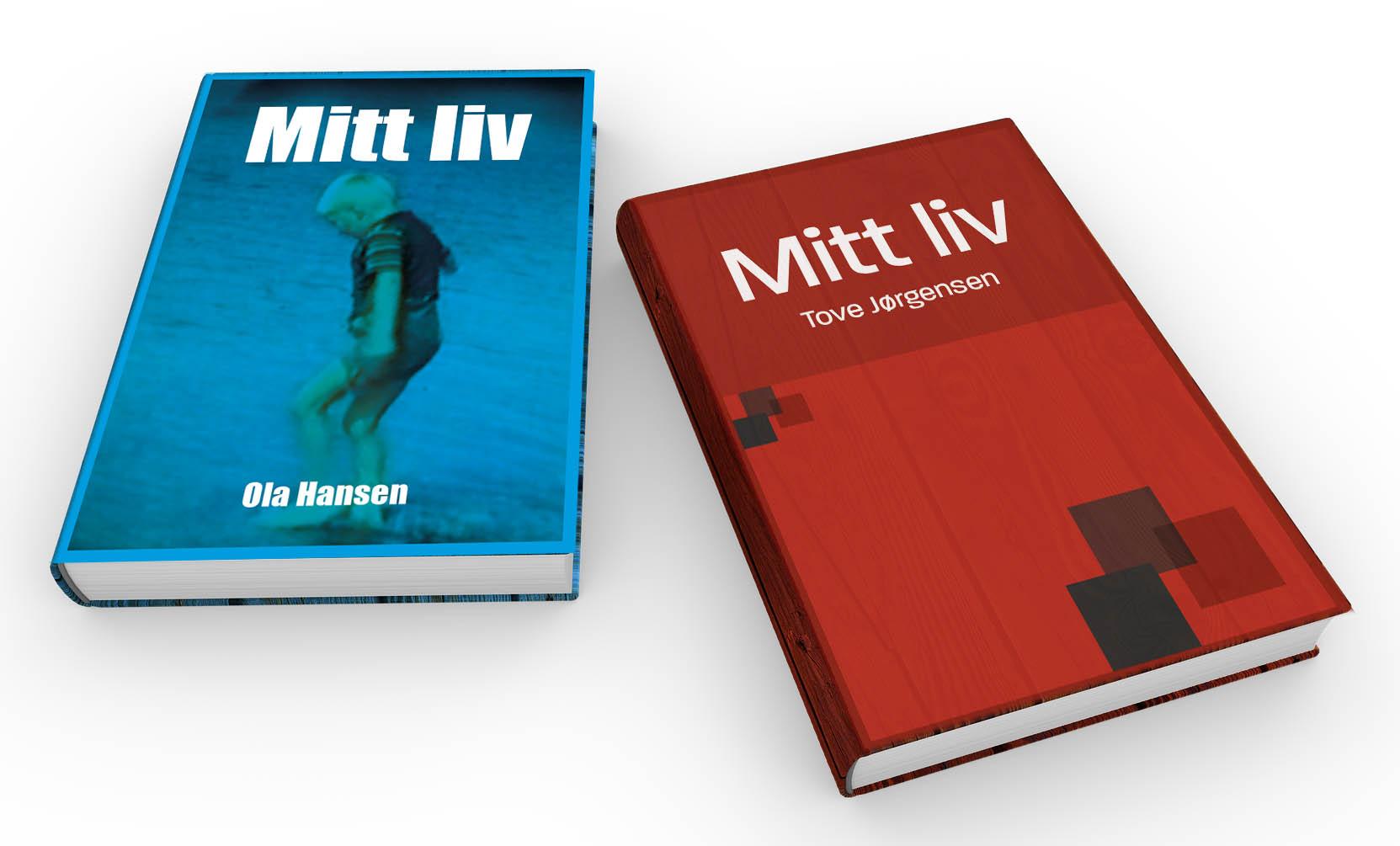 """To bøker. Tittelen på begge er """"Mitt liv"""". Omslaget på den venstreboken viser en gutt som vasser på en strand. Boken til høyre har ikke noe bilde, men har noen forkanter som design."""