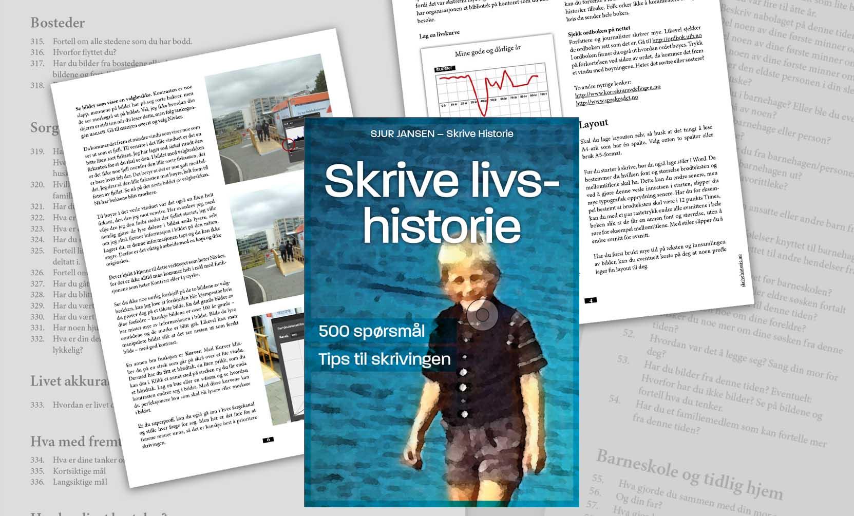 Omslaget til en bok. En gutt i kortbukse på omslaget. Også noen faksimiler av sidene i boken.