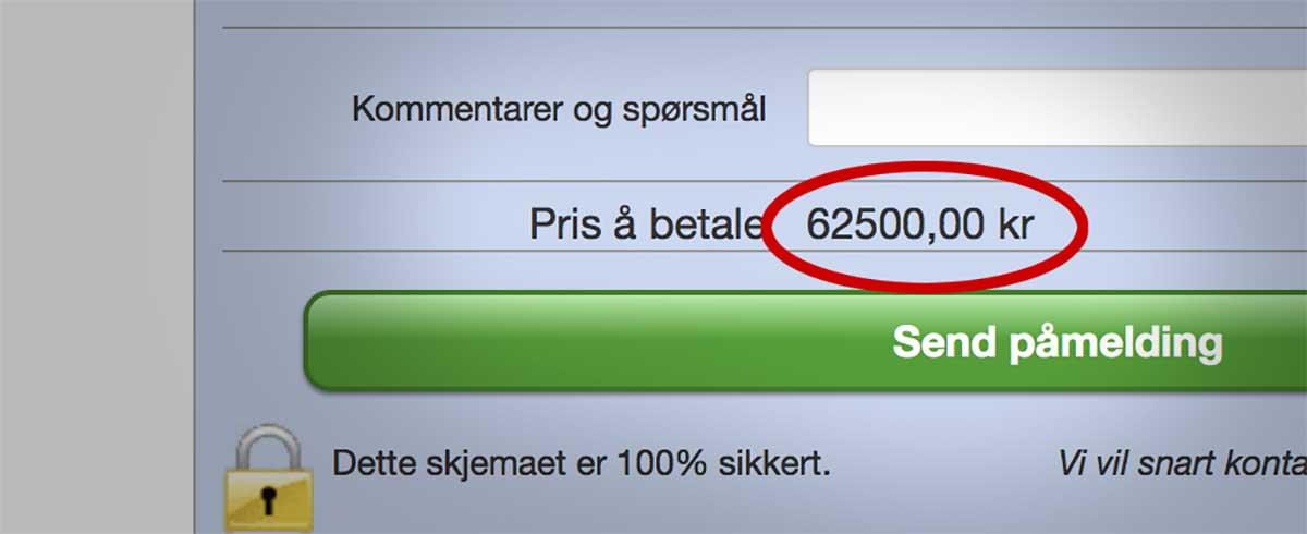 Skjermdump av nettside som tilbyr kurs i de nye personvernreglene. Bildet viser prisen på kurset.