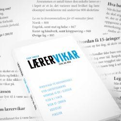 """Bildemontasje med sider fra boken """"lærervikar""""."""