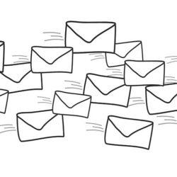 Strektegning av konvolutter som flyr.