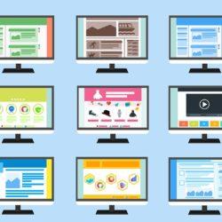 Illustrasjon med ni ulike nettsider.