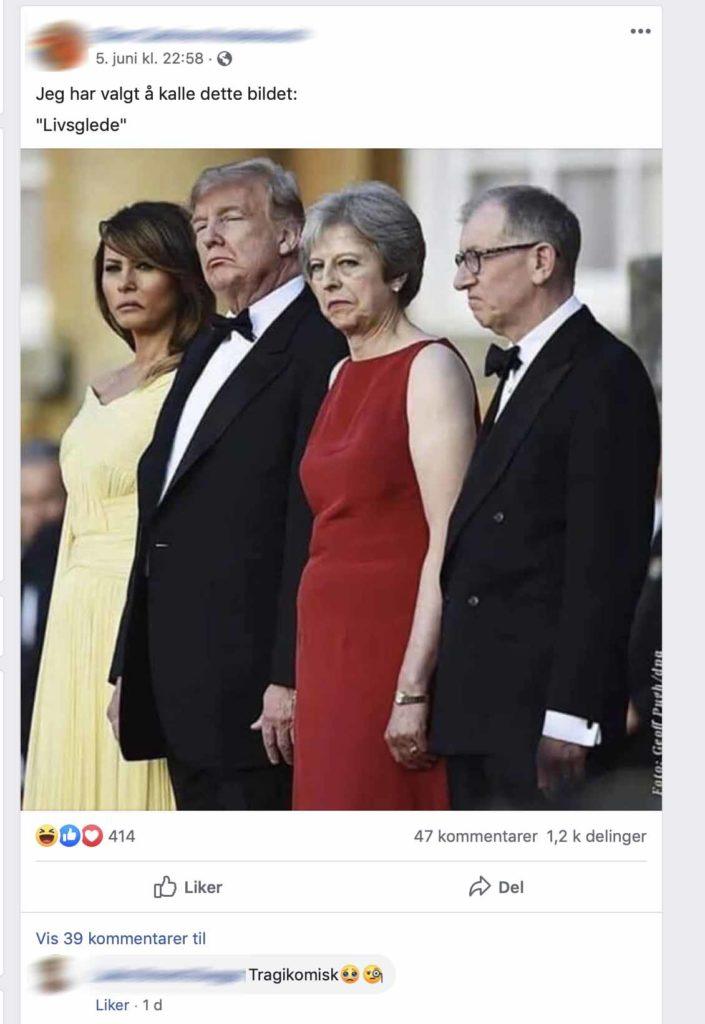 Skjermdump av et innlegg på Facebook. Det viser et bilde av Trump med flere.