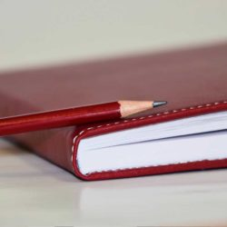 Dagbok med blyant.